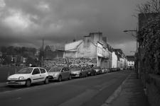 photo noir et blanc de la rue de la providence quimper